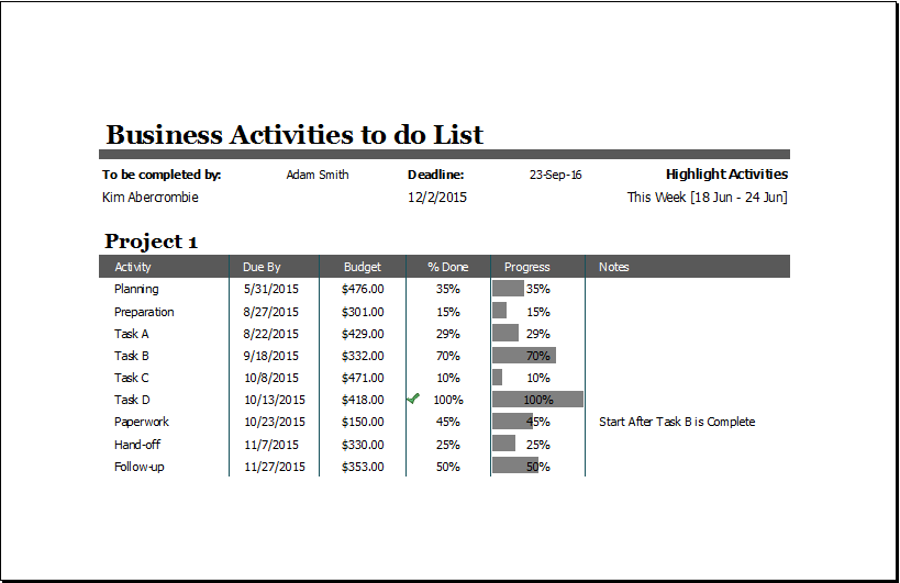 Business Activities To Do List At Word Documents Microsoft