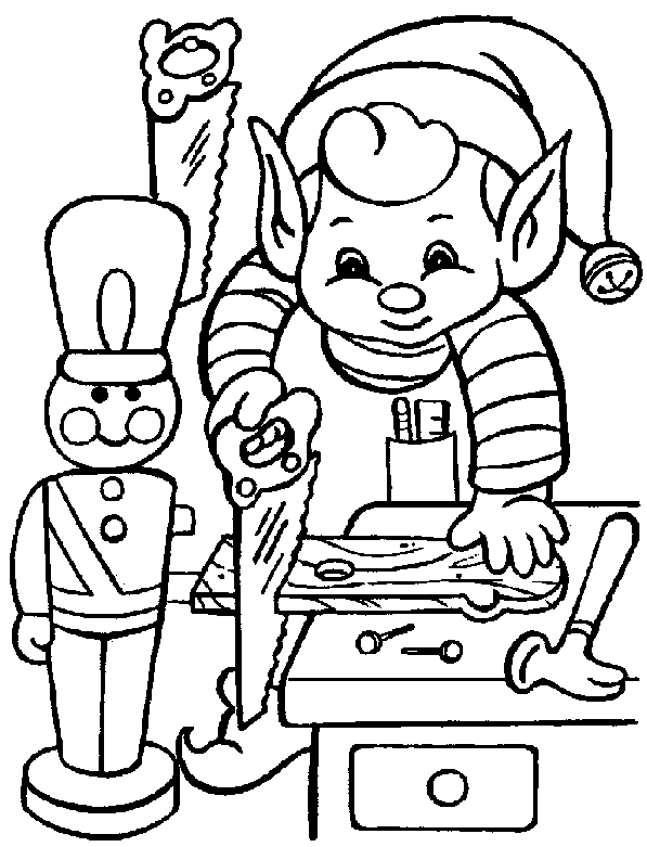free christmas coloring pages elf in santas workshop