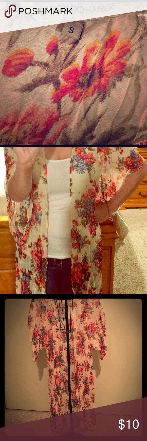 Beautiful long flower kimono. Like new. Worn a few times. Foreign Exchange Jackets & Coats Vests