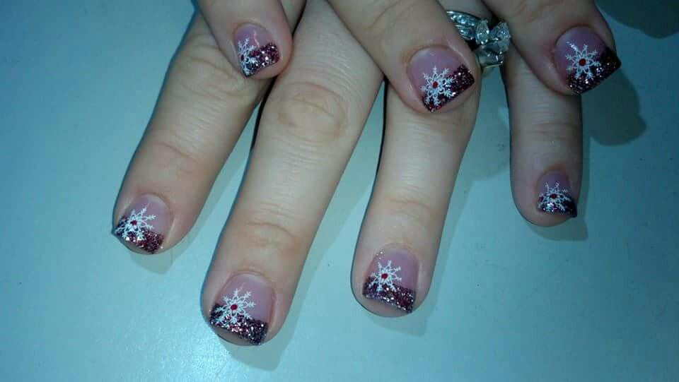 Winter nail design! Glitter red french tip nails with stamped ...