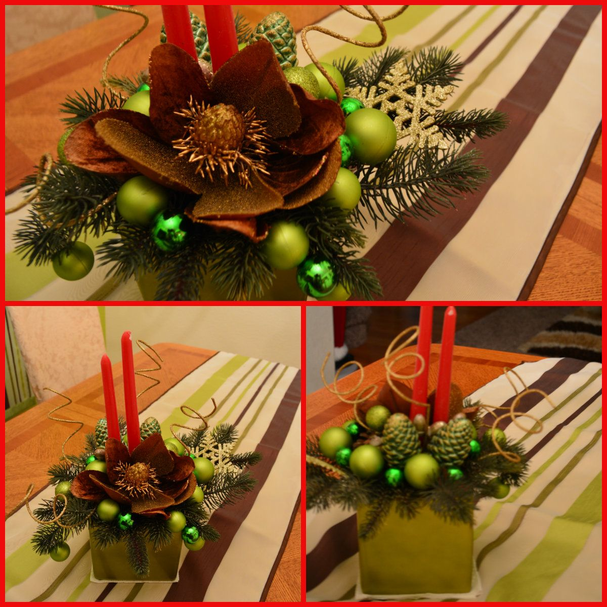 Here is the centerpiece I made for my dining room table tp match my lime green accent wall