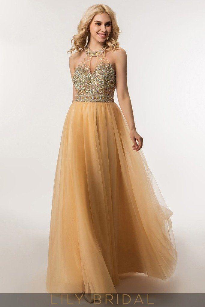 Beaded Illusion Bodice Floor Length Prom Dress