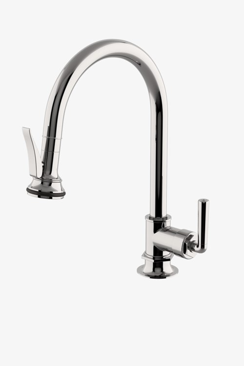 Henry One Hole Gooseneck Kitchen Faucet With Pull Down Spray And Metal Lever Handle Gooseneck Kitchen Faucet Kitchen Faucet Waterworks Kitchen