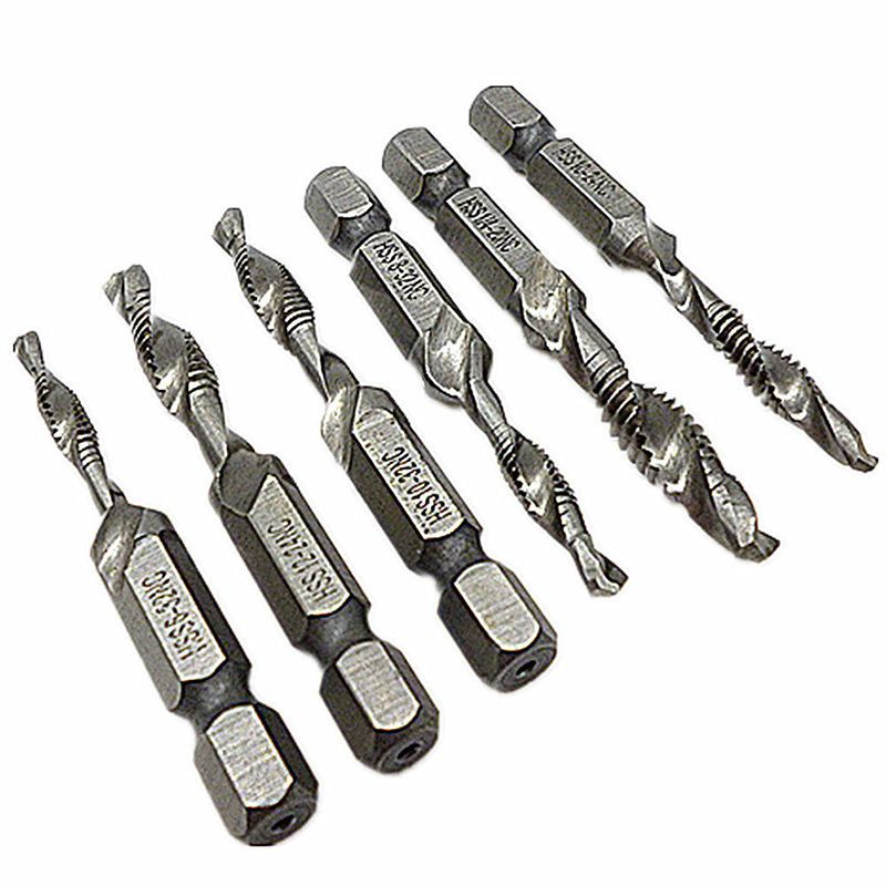 6pcs drill tap combination bit set deburr countersink hex bit hss 6pcs drill tap combination bit set deburr countersink hex bit hss 1 4 shank sae