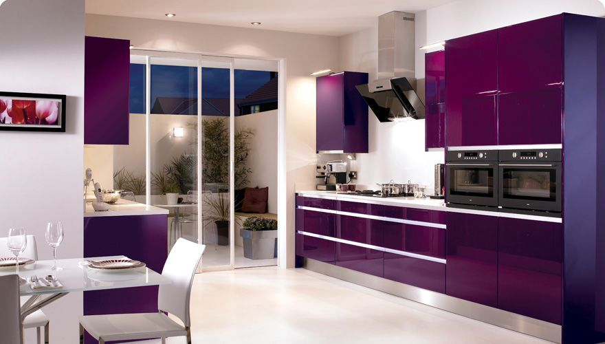 Modern Kitchen With Purple Acrylic Cabinets Purple Kitchen Purple Kitchen Designs Purple Kitchen Appliances