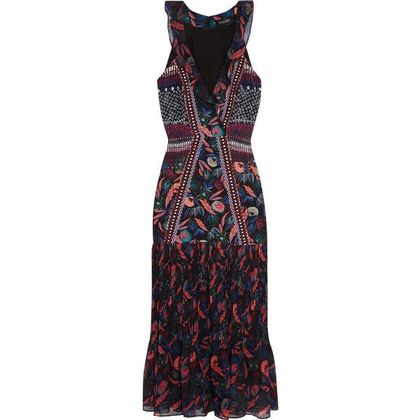 Saloni Amy printed silk-chiffon midi dress ($345) ❤ liked on Polyvore featuring dresses, flutter-sleeve dress, ruffle dress, floral dresses, v-neck dresses and v neck midi dress