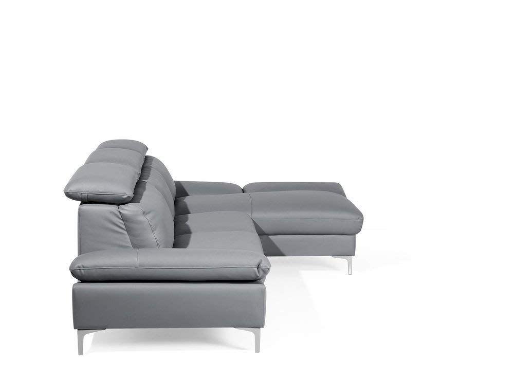 Left Hand Corner Sofa Leather Grey Farila Beliani Amazon Co Uk Kitchen Home Corner Sofa Leather Sofa Couch