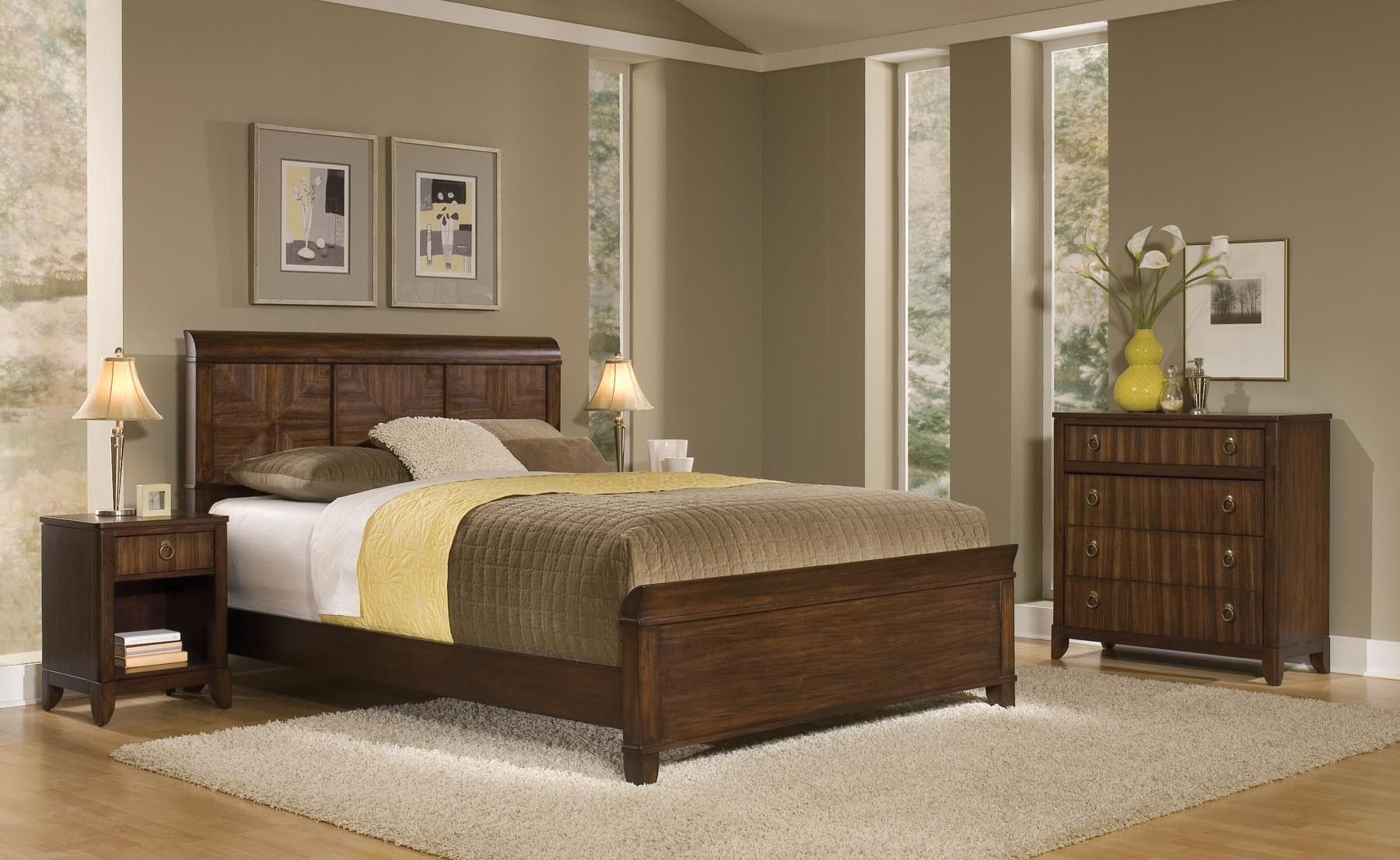 Best Home Styles Paris Mahogany Queen Bed Night Stand Chest 400 x 300