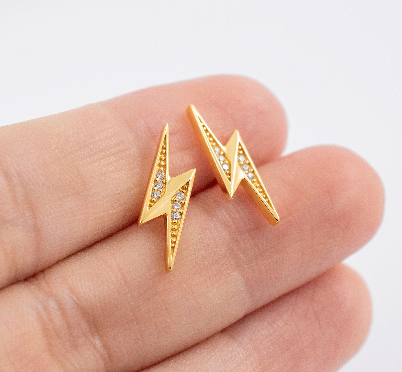 Lightning bolt stud earrings hypoallergenic sterling
