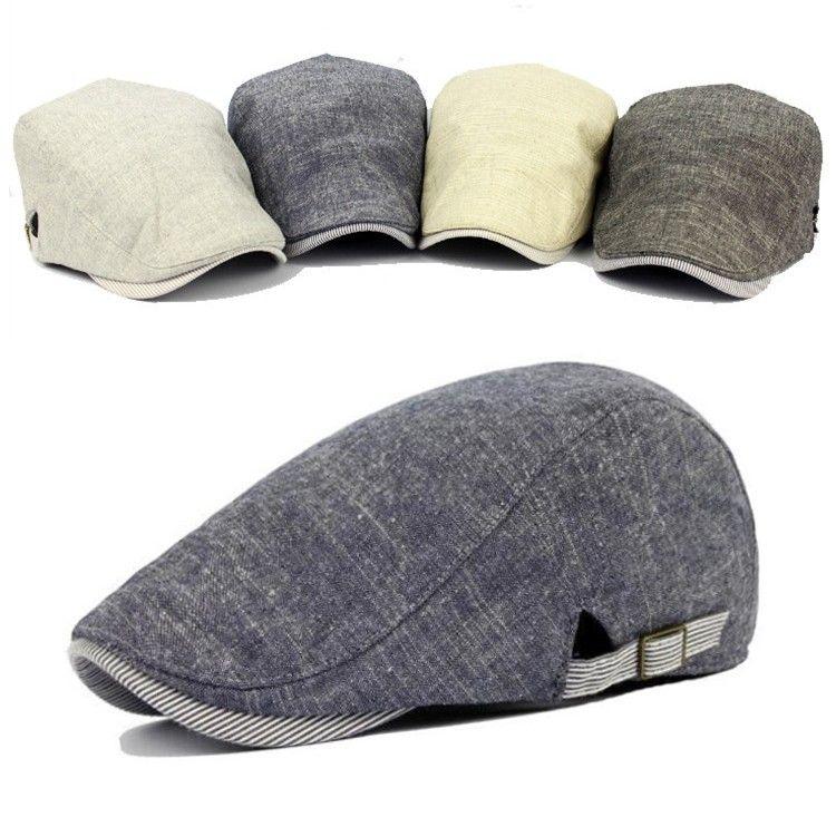 Men Cotton Beret Hat Buckle Adjustable Paper Boy Newsboy Cabbie Golf ...