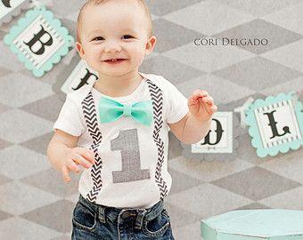 364e01ec01327 Boys First Birthday Outfit - Bow Tie Suspenders - Boys 1st Birthday ...