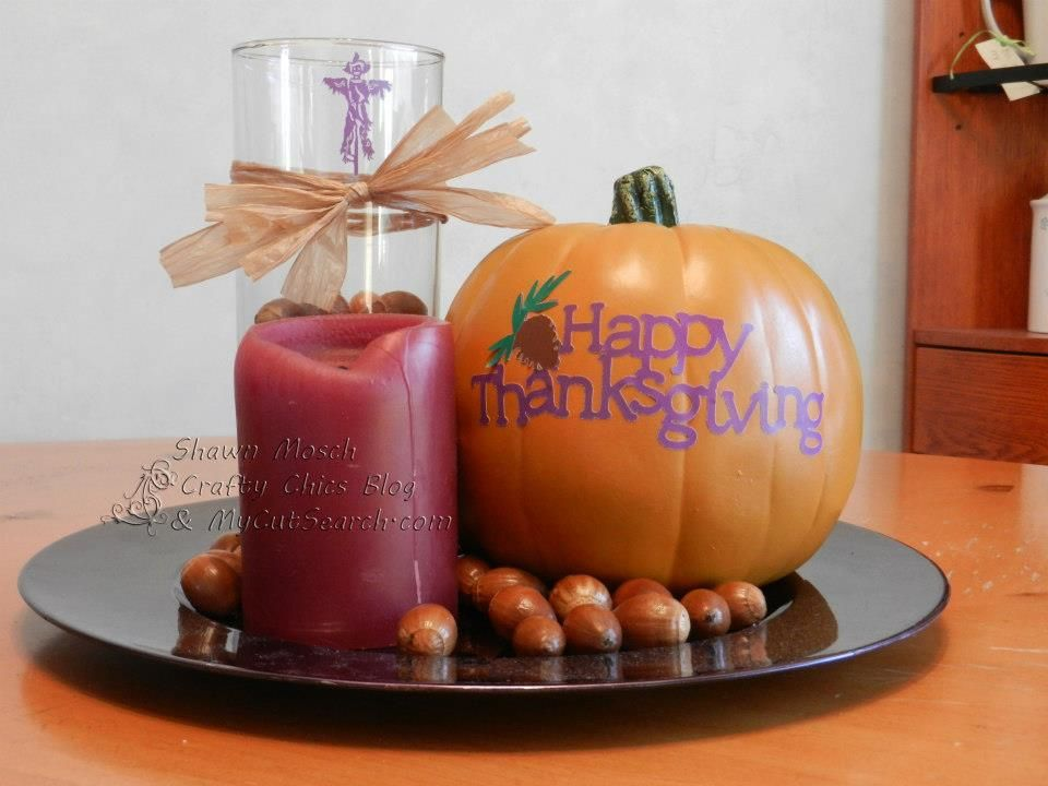 Thanksgiving Home Decor using Square 1 adhesive backed material