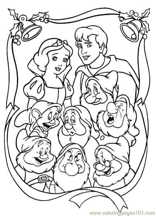 Free Printable Coloring Image Snow White Christmas