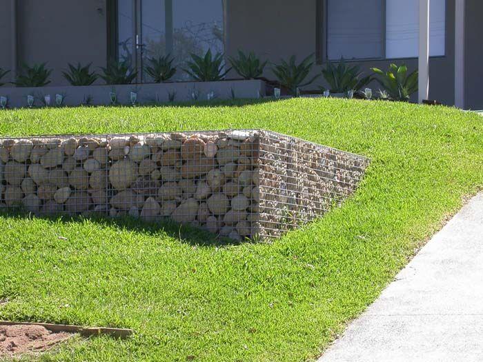 gabions - on a terraced lawn