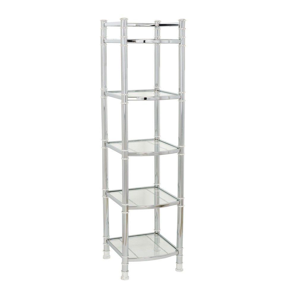 Zenna Home 9058SS, 5-Tier Bathroom Shelf/Linen Tower, Chrome/Glass ...