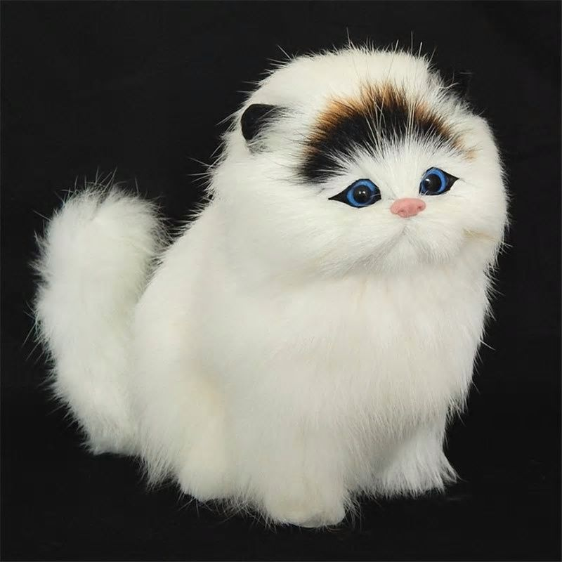 Real Fur Simulation Animal Cat Handmade Plush Animals Toys Doll Gifts