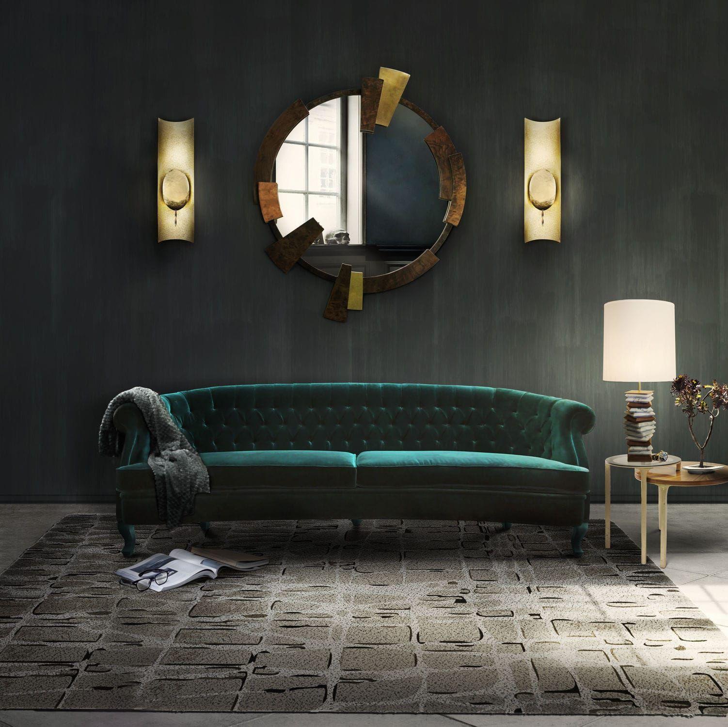 Canapé Chesterfield En Velours Places Vert MAREE BRABBU - Canapé 3 places pour decoration moderne de salon