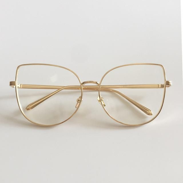 a890409cd4c4 Peekaboo new sexy big cat eye glasses frames for women brand black silver gold  clear fashion glasses cat eye metal frame