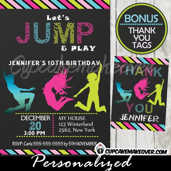 Trampoline Party Invitation, Personalized