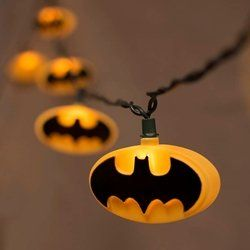 String Lights, 10 Batman Logo, Outdoor, Green Wire, 11 ft., Plug In, Yellow ** Do not get left ...