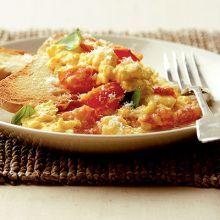 Tomato, basil & Parmesan scrambled eggs