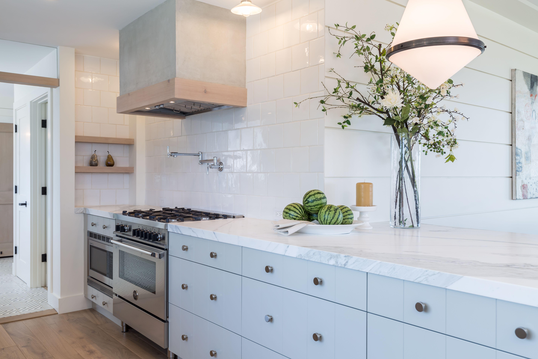 Kitchen Hand Made Tile Backsplash Custom Plaster Range Hood With Fir Trim And Shelving Cabinets V Groove Detail Potfiller
