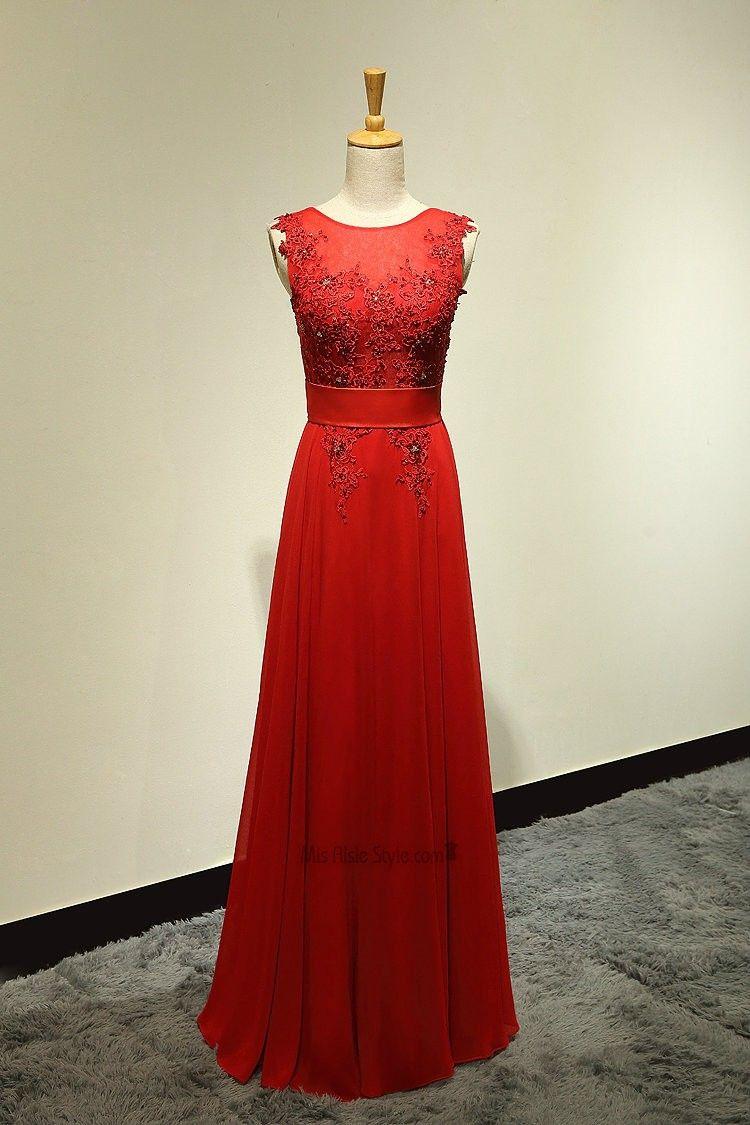 would prefer in navy!! A-line Round Neck V-back Red Wedding Dress ...
