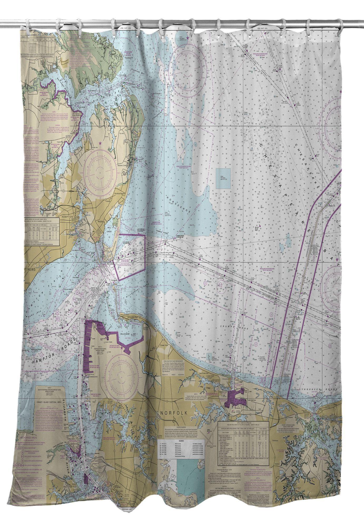 Hampton Norfolk VA Nautical Chart Shower Curtain