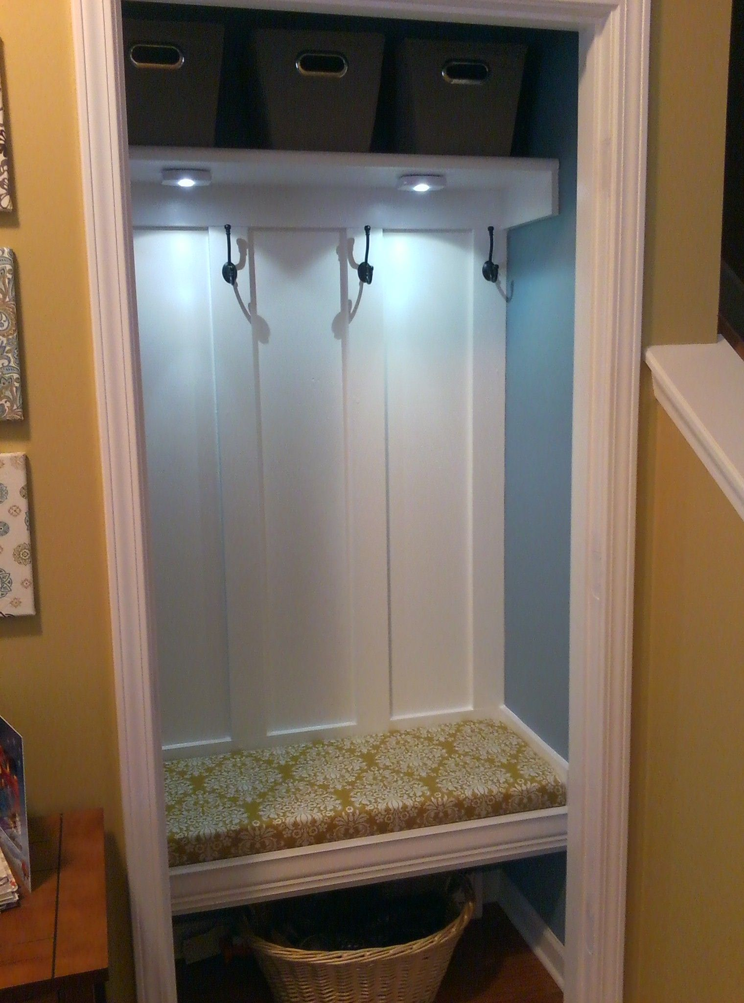 Entryway Closet Converted Mudroom Coat Hooks Installed