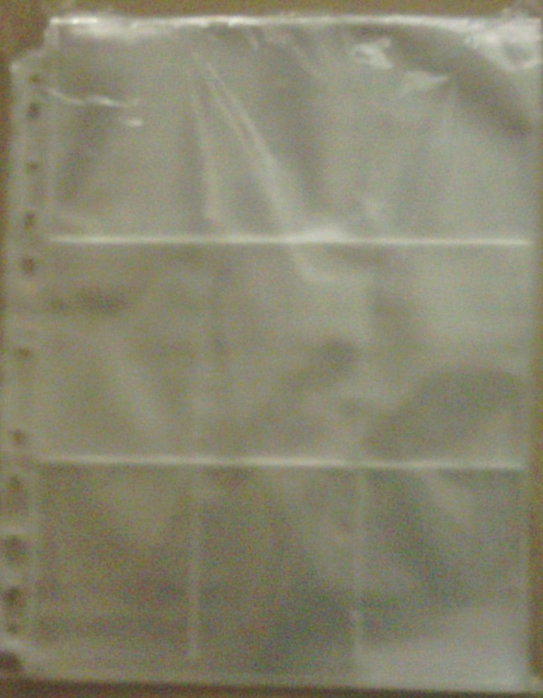 Trading Card Multi Punched 9 Section Clear Plastic Sleeves Pk Of 10