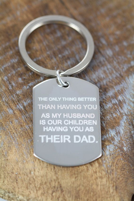 Unique Personalized Fathers Day Gift Key Ring, Gift for Father, Engraved Gift Ideas for Dads Daddy by Shiny Little Blessings. Use PIN10 for 10% off.