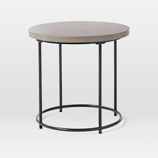 Mosaic Tiled Side Table Solid Concrete Top Metal Base Concrete - West elm concrete side table