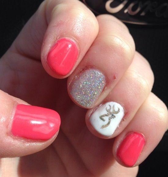 My shellac nails with browning nail art ! Nails by Abby   Nailed ...