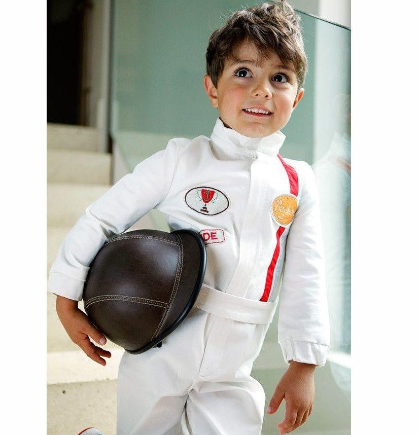 Childs Racing Car Driver Costume Boys Girls Formula 1 Jumpsuit Fancy Dress Blue