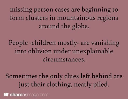 writing prompt Missing person cases are beginning to form clusters - missing person picture