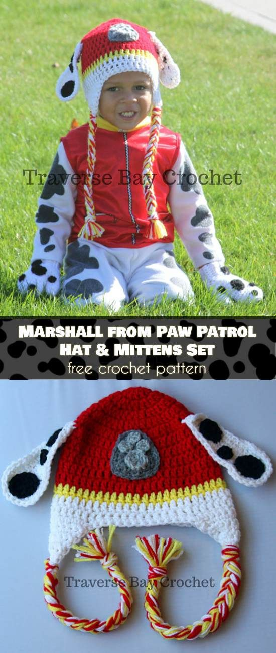 Marshall from Paw Patrol Hat and Mittens Set [Free Crochet Pattern ...