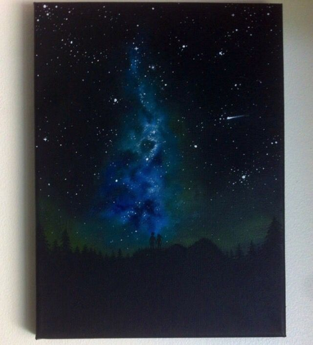 Glow in the dark space Galaxy painting by Lanchen Designs