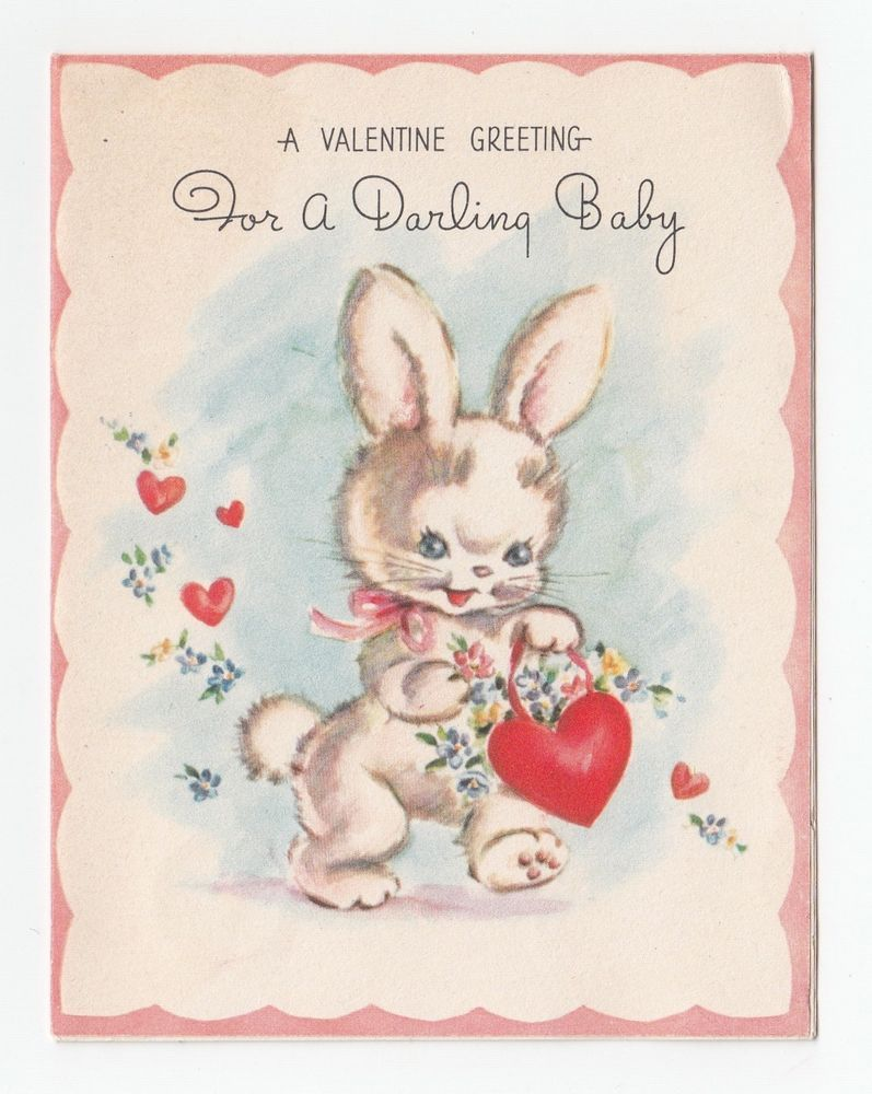 Vintage Greeting Card Valentine For Baby Cute Bunny Rabbit Rust