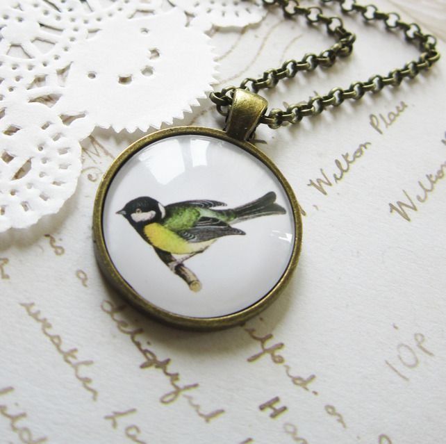 Vintage Blue Tit Necklace - Cabochon Pendant bird £9.99. Totally gorgeous. Zoe James jewelry.