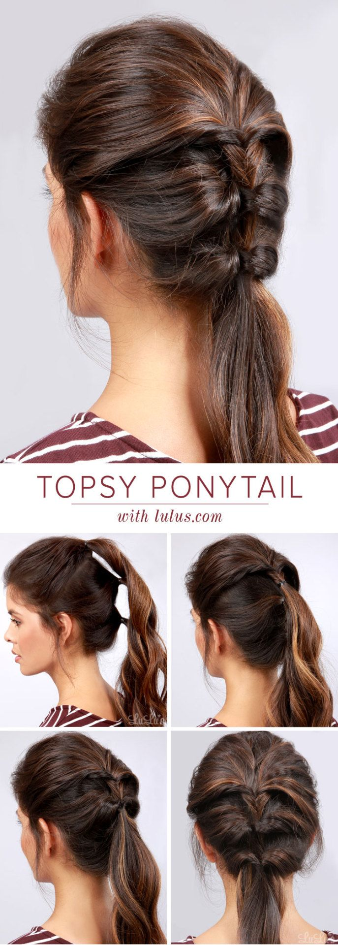 Diy topsy ponytail tutorial rom luluus this only looks braided