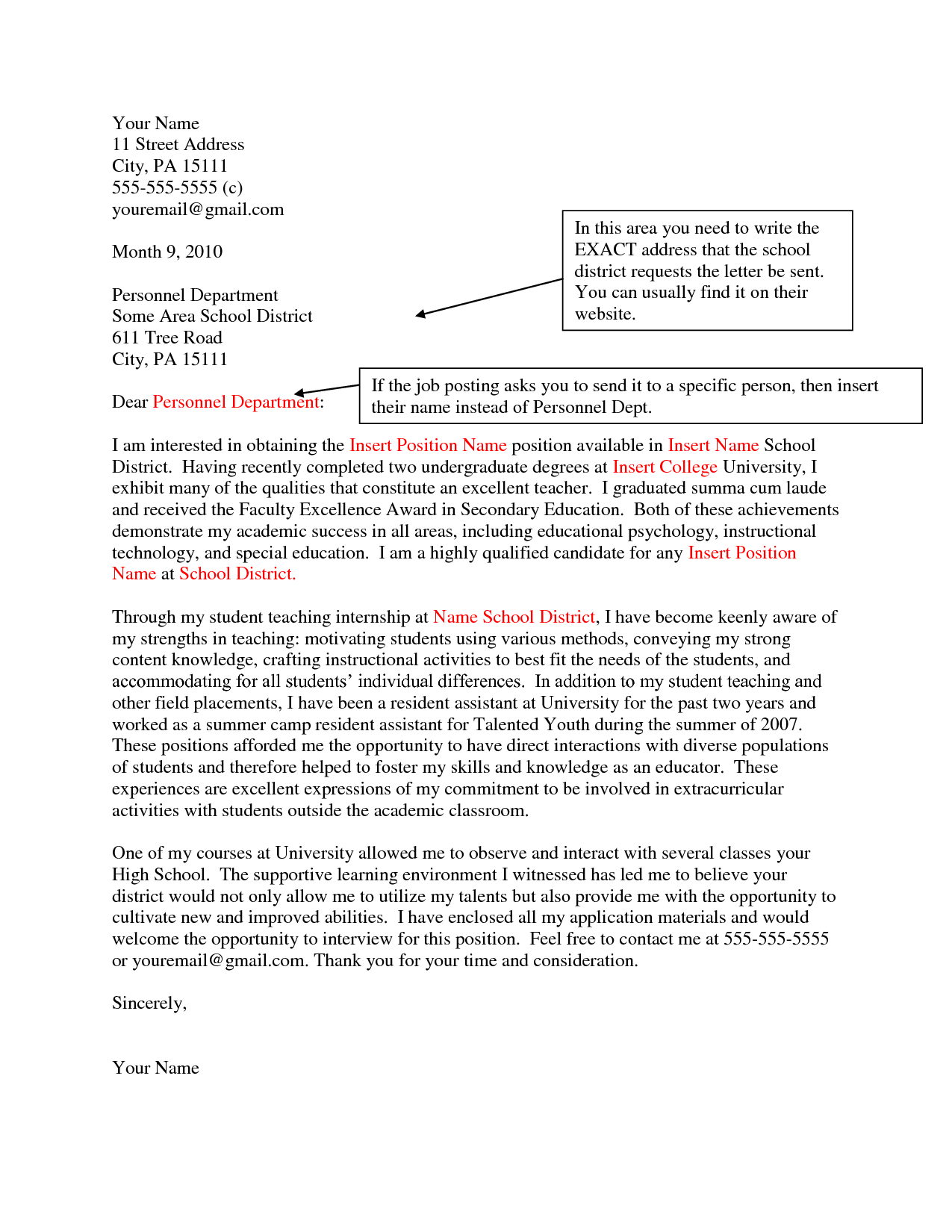Job Application Letter For College Teacher Five Tips Writing