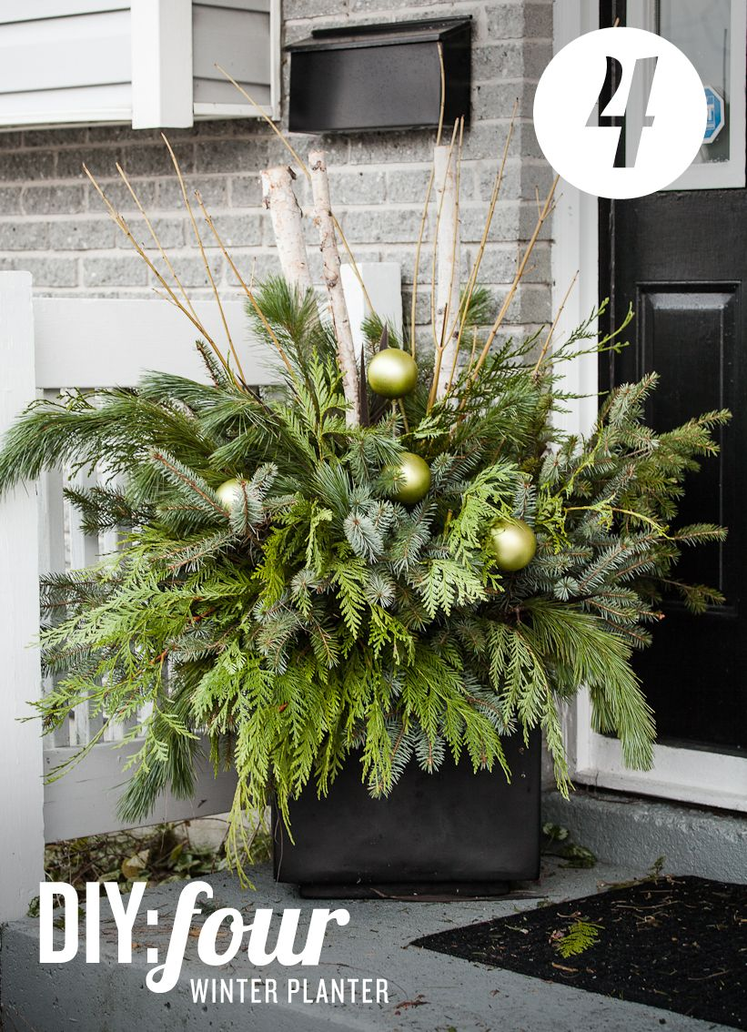 xmas flower pots made from birch log | DIY 04: Winter Planter - The ...