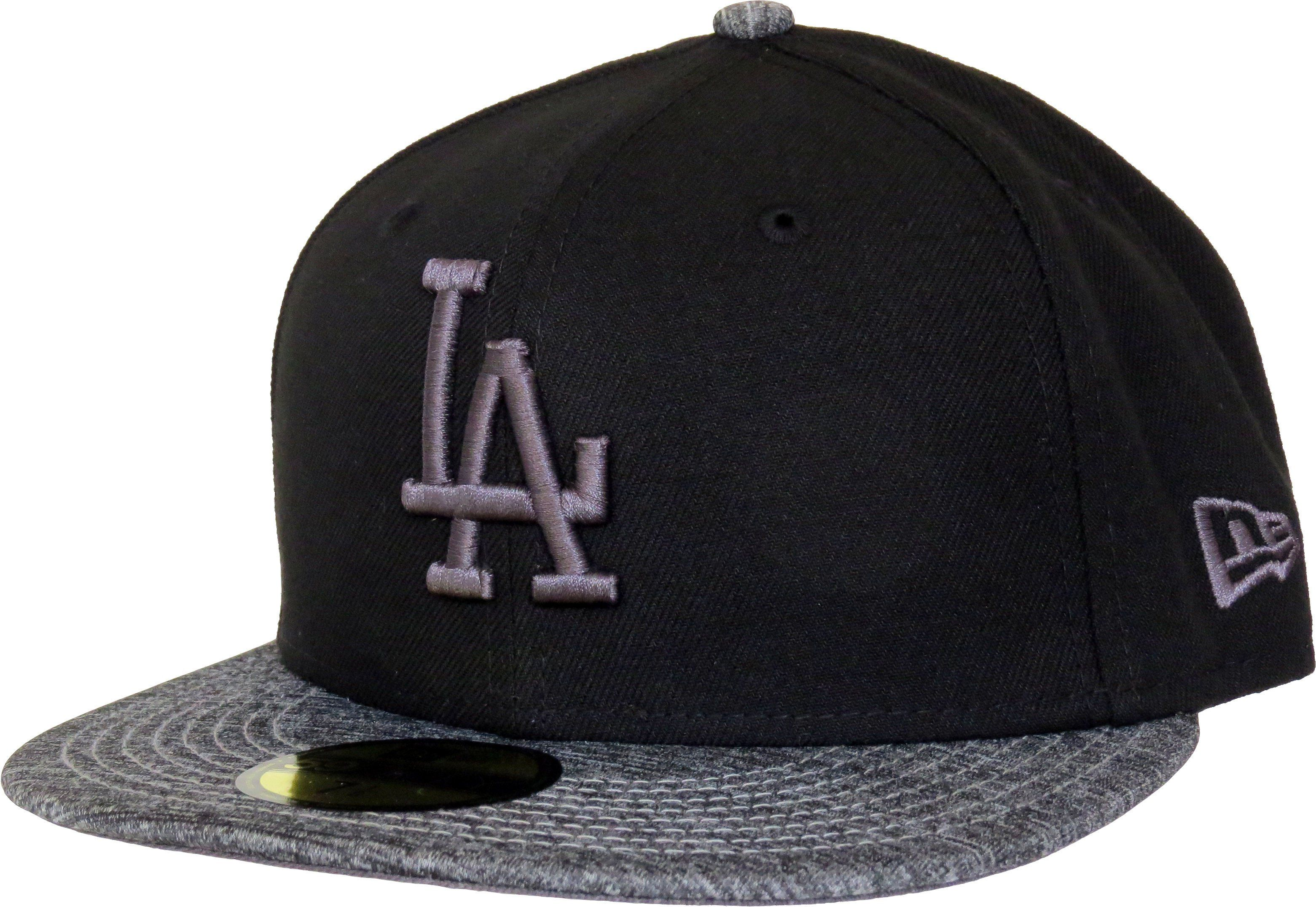 bfff6c9b66c21 New Era 59Fifty MLB Grey Collection Fitted Team Cap. Black with the LA  Dodgers front