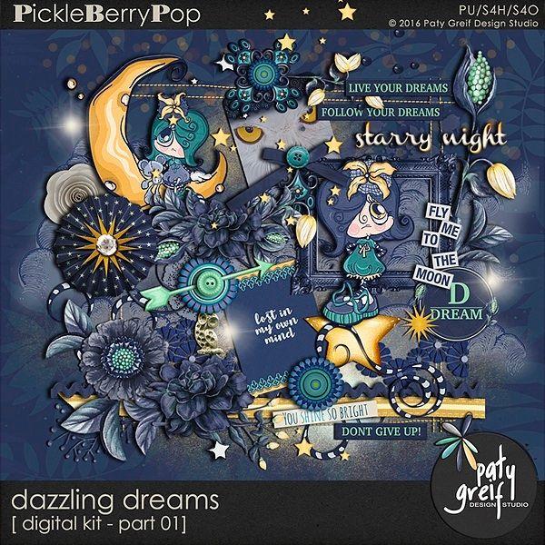 "Dazzling Dreams ""Digital Kit Part-01"" by Paty Greif"