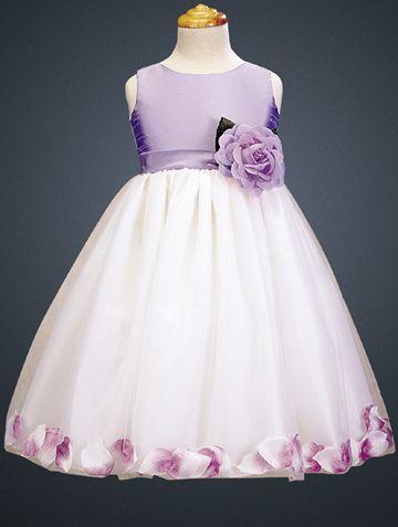 f2516576e1b Lilac White Blossom Sleeveless Shantung and Tulle Petal Flower Girl Dress