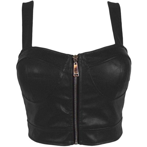 efd3e3c355d Faux Leather Zip Front Padded Cups Bustier Bralet PU Party Crop Top... ❤