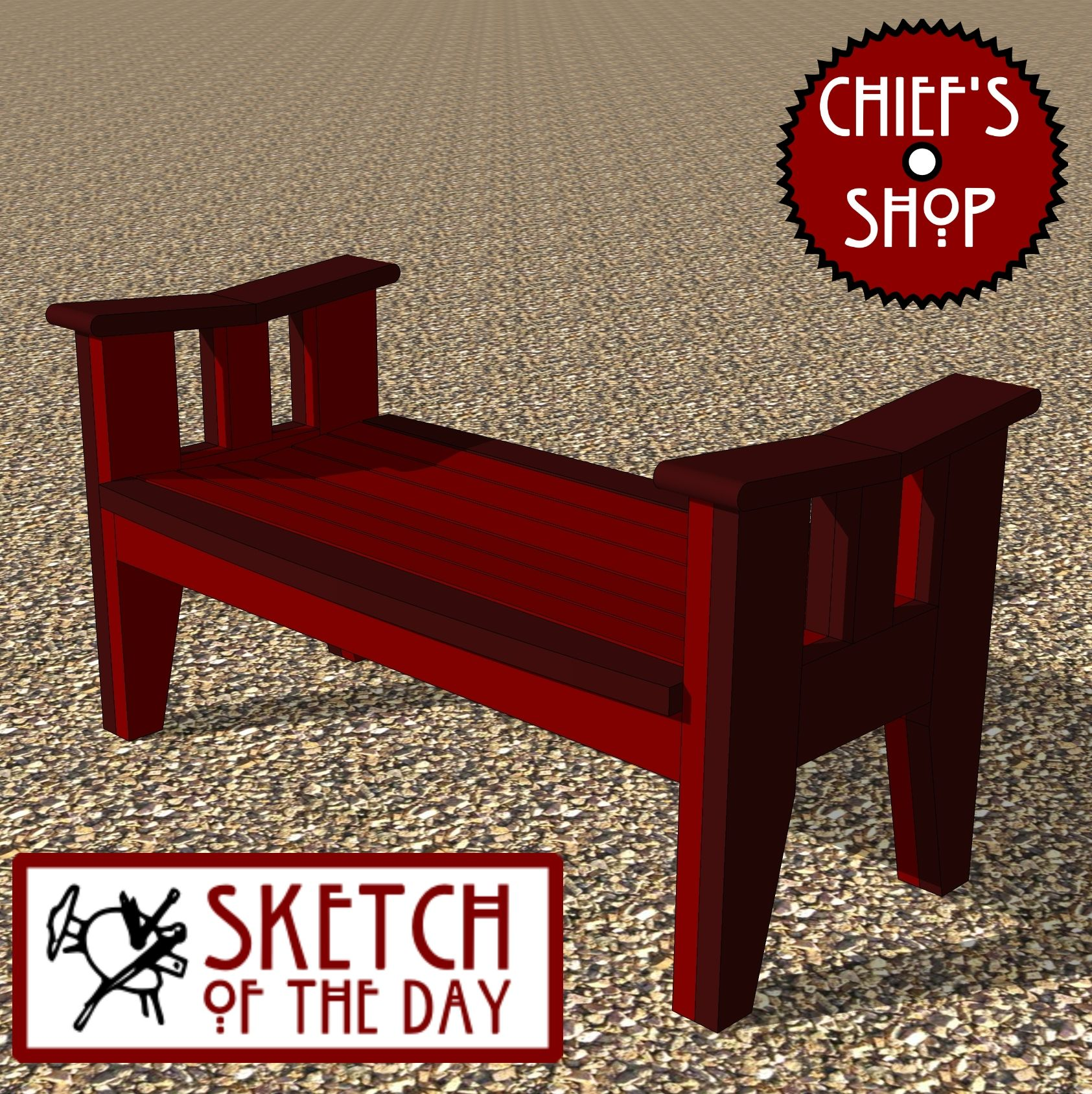 Sketch of the Day: Asian Inspired Garden Bench # ...