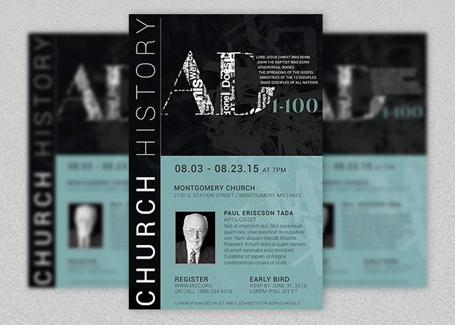 Church History Seminar Flyer And Poster Template  Church Print