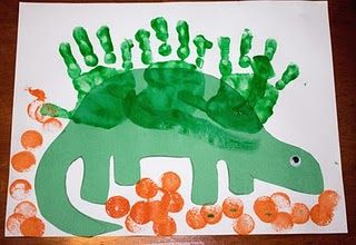 Dinosaur hand print art