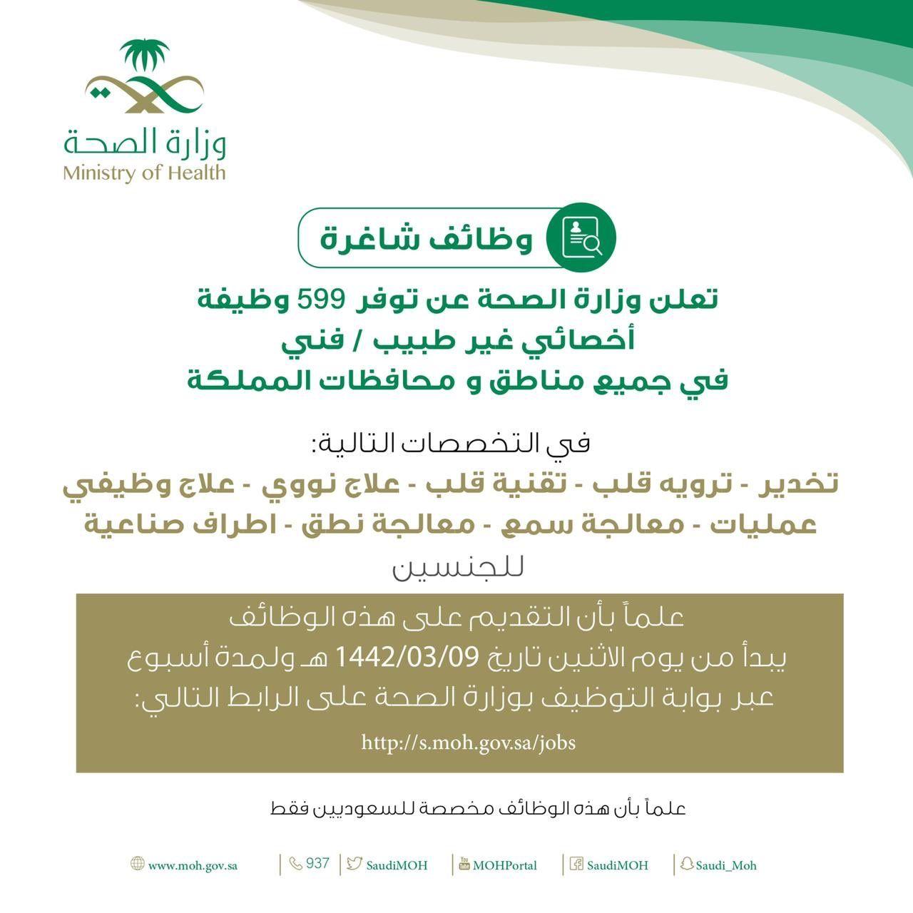 وزارة الصحة تعلن عن 599 وظيفة شاغرة في كافة المناطق Health